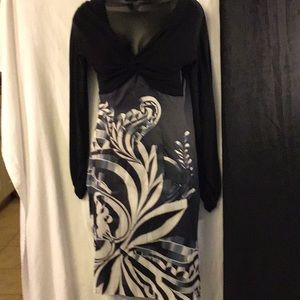 Karen Millen Black/Gray/White Dress W/ Side Zip 8